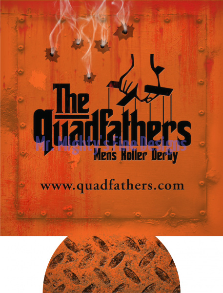 Quadfathers - Can Koozie - Grunge with Bullet Holes